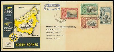North Borneo 1936 Malayan Airways Flight Cover With Qe 4 Values