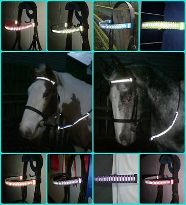 HI VIZ / Reflective Horse Browband with Matching Rein Covers -  ROYAL BLUE