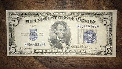 1934 Five Dollar Blue Seal Banknote / Silver Certificate With Error.