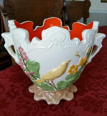 Antique French Majolica Bird Insect Cachepot Jardiniere Planter