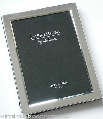 """Impressions by Juliana Flat Edge Silver Plated Picture Photo Frame 3620S 5""""x7""""."""