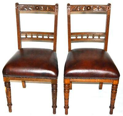 A pair of Victorian Carved Oak Dining Chairs - FREE Shipping [PL2859]