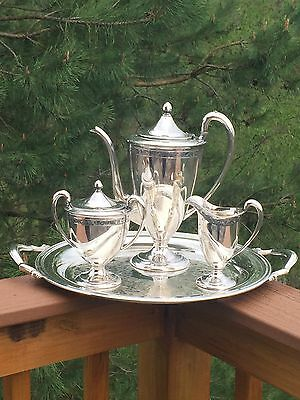 International Wilcox Art Deco Silverplate Tea Set On Handled Serving Tray