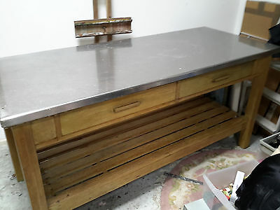 Kitchen vintage pine table worktop with stainless steel top.