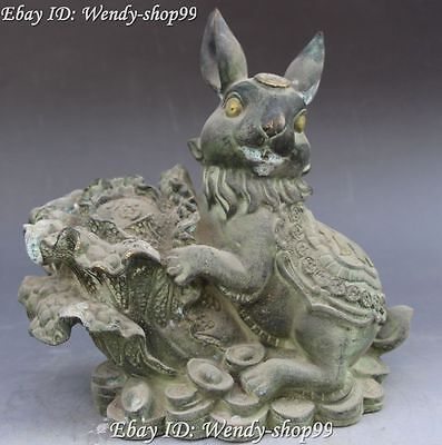 "9"" Old Chinese Bronze Fengshui Zodiac Year Rabbit Hold Cabbage Yuan Bao Statue"