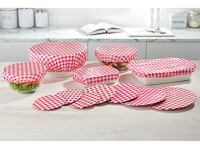 12 Gingham Reusable Elasticated Food Lid Covers Protector Kitchen Picnic Fridge