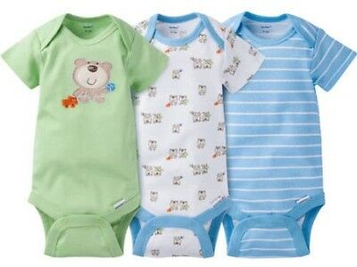 GERBER BABY BOY Onesies Bodysuits Variety 3-Pack Baby Shower Gift - Green - BEAR