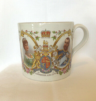 Antique George V & Mary coronation 1911 mug - pretty decoration - Royalty CROWN