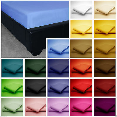 Plain Dyed Poly cotton Fitted Bed Sheet Bunk Bed, Single, 4FT, Double, King,