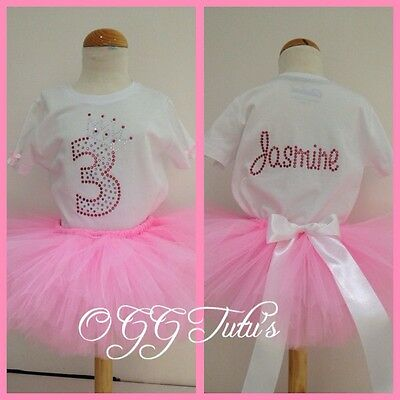 Birthday Baby Girls Tutu Outfit Rhinestones Any Age Name Party Personalised