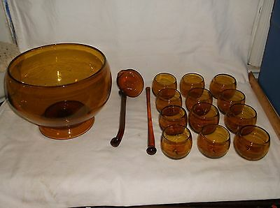 Rare Hand Blown Mid Century Modern Amber Glass Punch Bowl Set w/ Ladle & Stirrer