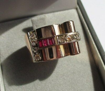 Superbe bague Tank ancienne 1940 - Rubis Diamants – Gold ring or 18 carats 13,5g