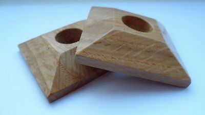 x 2 Pyramid OAK Lacquered Pipe Covers / Rad Rings / Collars for 15mm pipe