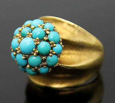 Estate Italy Sleeping Beauty Turquoise Solid 14K Yellow Gold Cluster Ring 6.75