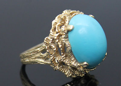 Vintage Oval Sleeping Beauty Turquoise Textured Solid 14K Yellow Gold Ring 7.25