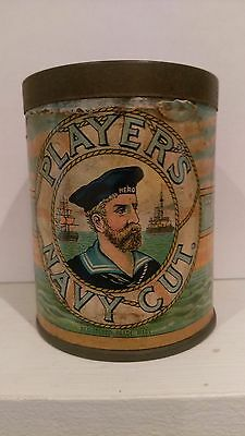 Empty Cigarette Tin With Paper Label *  Players Navy Cut * Good Condition *
