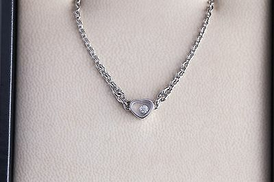 Brand New Authentic Chopard Happy Diamonds Pendant Necklace 18K White Gold Heart