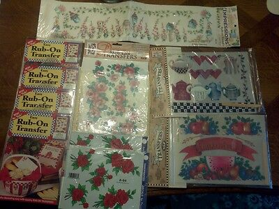 Vintage NOS Rub On Decals & Transfers - Decorcal Tulip Wangs & More Farm Floral