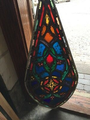 Sg 1093 Antique Painted And Fired Teardrop Window 18 X 39