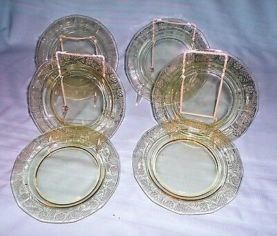 Vintage Six Yellow Etched Depression Glass Lunch Plates