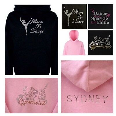 Personalised Diamante Hoodie.Rhinestone Ballet Jumper.Kids Gymnastic Dance Top