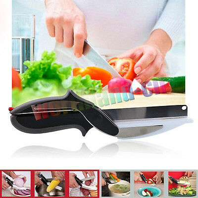 2-in-1 Clever Cutter Cutting Board Scissors Food Choppers Vegetable Slicer