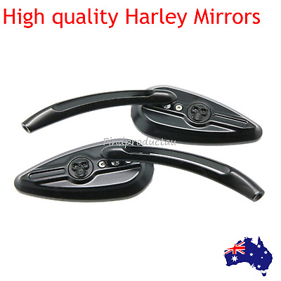 2x black Motorcycle Rear View Mirrors For 1984~2014 Harley Davidson Chopper Dyna