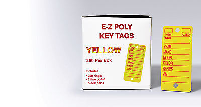 Automotive Poly Key Tags | polyethylene, heavy duty | EZ426 Yellow or White