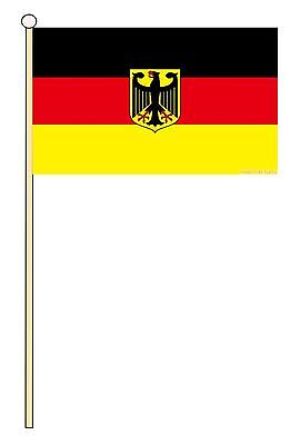 "GERMANY EAGLE 18"" x 12"" LARGE HAND WAVING COURTESY FLAG & POLE"