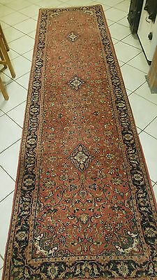 Indian Sarough Oriental hand knotted wool carpet runner rug 344 x 92 cm size