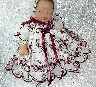 Burgandy Dress Baby Reborn   Beaded Organza Victorian Size 0-3 Month