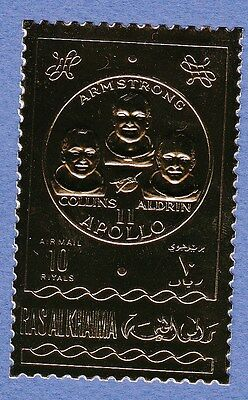 K96-Timbre/Stamp GOLD/OR Neuf**MNH RAS AL KHAIMA Apollo 11 Armstrong-Collins....