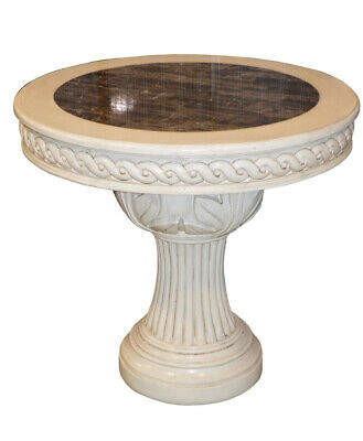 Shabby Cottage Chic Round Marble Top Pedestal Accent Table