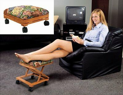 Foot Rest Elevated Foot Stool Footrest Adjustable Rolling Fold-A-Way