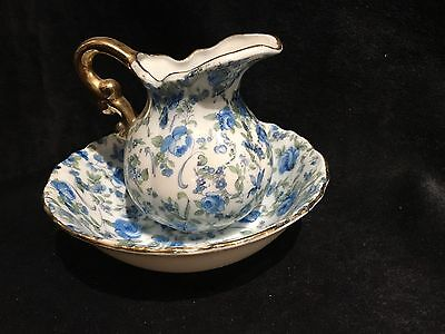 Vintage Small Water Pitcher With Bowl Calico Blue Print