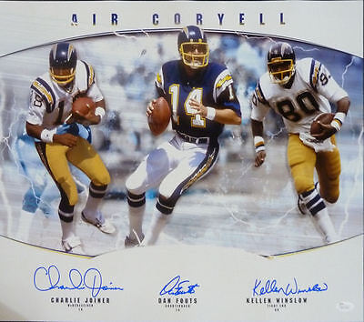 San Diego Chargers Hall Of Fame Autographed 16X20 Photo 17603 (Fouts +2) Jsa