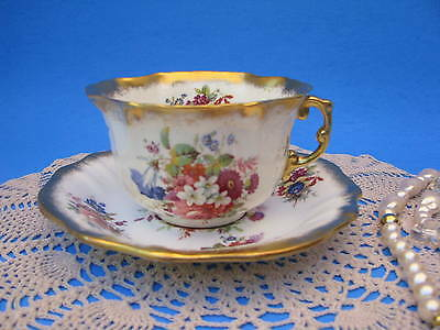 HAMMERSLEY LADY PATRICIA Teacup  Brushed Gold Quatrefoil Tea Cup & Saucer 5723