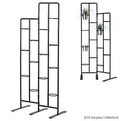 Dark Gray Vertical Metal Plant Stand Tiers Display Plants Indoor Outdoors