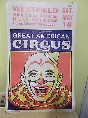 1950's GREAT AMERICAN CIRCUS POSTER WESTFIELD, NEW JERSEY