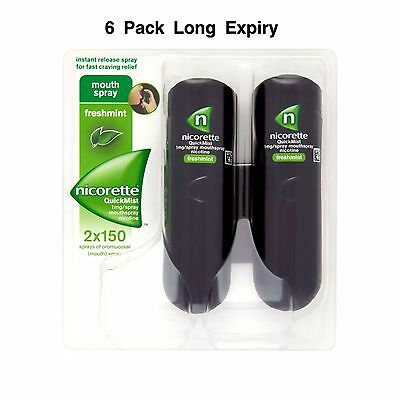 6 Packs Nicorette QuickMist 1mg Mouthspray Freshmint 2 x 150 Sprays Exp 06/2021