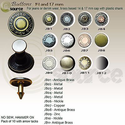 Jeans Buttons Metal Buttons Premium High Quality Antique Brass Hammer On Buttons