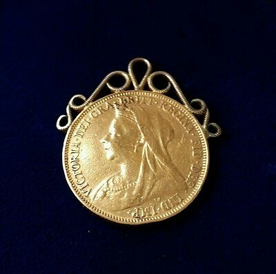 22Ct Gold Queen Victoria Full Sovereign Coin Pendant Rare Collector Item 1900