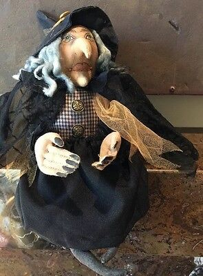 Halloween JOE SPENCER Gathered Traditions Sitting Witch Doll