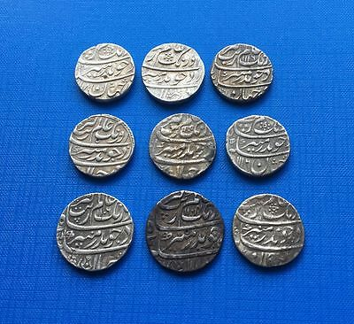 India Mughal. Auranzeb AH 1068-1119 AD 1658-1707 Silver Rupee lot of 9 coins