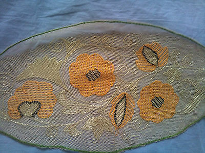 Beautiful Vintage Hand-Embroidered Tulle Table Runner