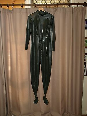 Female (Olive Green) Latex Rubber Catsuit With Feet