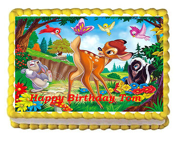 Bambi thumper Party Birthday Edible Icing Cake Topper 1/4 sheet