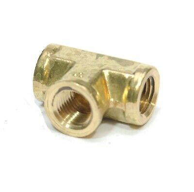 Female Tee FITTING 1/4 NPT FPT BRASS Equal, Fuel, Air, Water, Oil, Gas FasParts