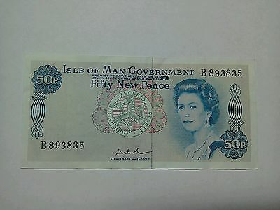 Isle of Man Government 50p Fifty New Pence Bank Note VF/EF
