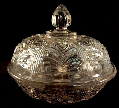 Inverted Fern Butter Dish Clear Flint Pattern Glass Unknown 1860s Covered Bowl